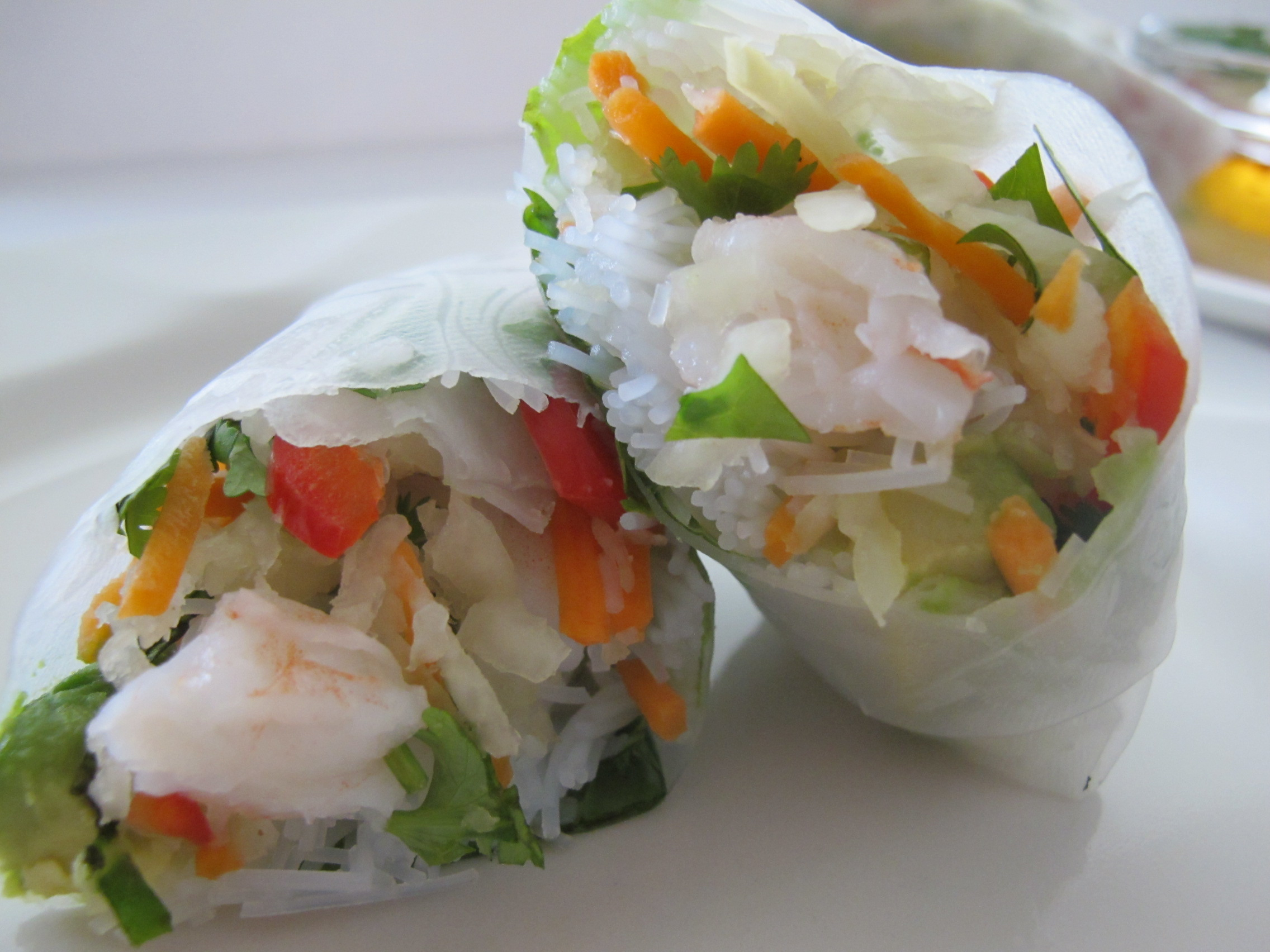 Shrimp Summer Rolls with Shredded Kohlrabi and Spicy Peanut Sauce ...