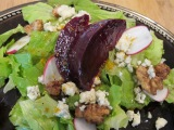 Salad with Roasted Beets, Candied Walnuts, and Orange Balsamic Vinaigrette