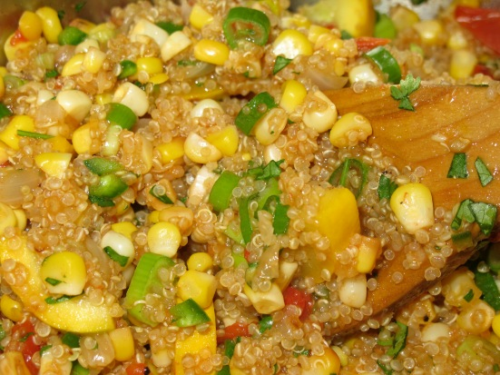 Quinoa Salad with Squash, Corn, and Tomatoes | HaveDessertFirst.com