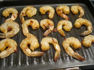Shrimp on grill pan