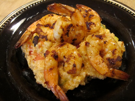 Grilled Chipotle Shrimp and Cheddar Grits with Corn and Tomatoes | HaveDessertFirst.com